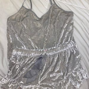 Grey Victoria secrets crushed velvet pajama set